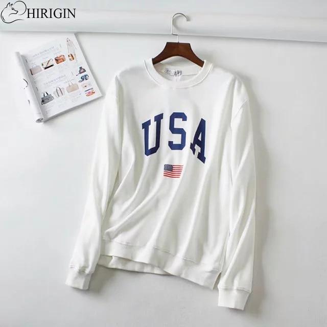 4557f4d292607 HIRIGIN 2017 Swetry Damskie Zimowe Ubrania USA Flag Z Długim Rękawem Bluza  Z Kapturem Bluzy Pullover