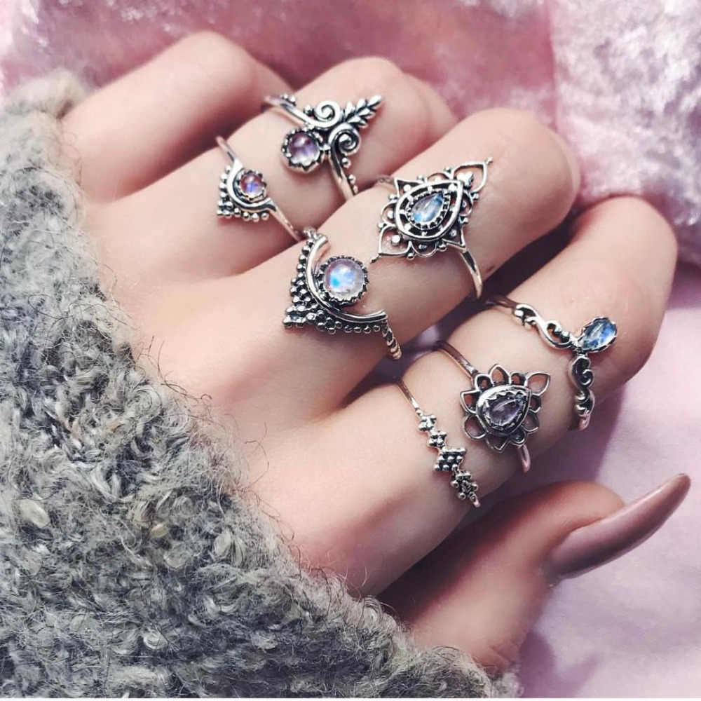 7pcs/Set Women Rings Bohemian Anillos Vintage Silver Stack Rings Jewelries Above Knuckle Blue Rings Set Elegant Ornaments Aneis
