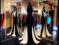 Moda de luxo preto e branco vestido de noite 2016 elegante sereia crystal bead chiffon mulheres formal pageant vestido para prom party