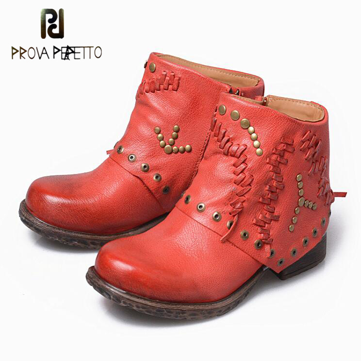 цена на Prova Perfetto Genuine Leather Women Ankle Boots Round Toe Thick Heel Flat Heel Leather Knit Rivets Studded Casual Martin Boots