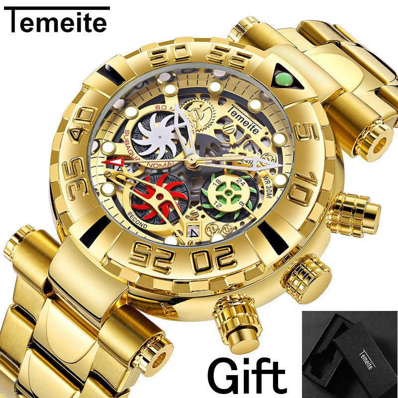 Temeite Merk Mens Horloges Quartz Multifunctionele Rvs Man Horloges Waterdicht Luxe Gold Chronograph Creatieve