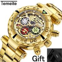 TEMEITE brand mens wristwatches quartz Multifunction stainless steel man watches waterproof luxury gold Chronograph creative