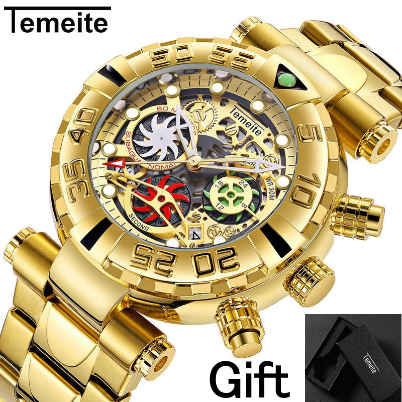 TEMEITE Brand Mens Wristwatches Quartz Multifunction Stainless Steel Man Watches Waterproof Luxury Gold Chronograph Creative