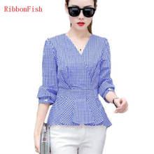 157d7ff7eaac07 Fashion Women Tops Summer Slim Clothes Office Wear Plaid Shirt Chiffon  Blouses Brand Design Blue Madam