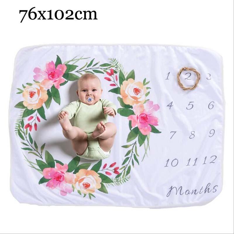 Прямоугольное одеяло-Ростомер для новорожденного ребенка/ребенка, подарок для мальчика, одеяло для фотосъемки 76X102 см - Цвет: flower A