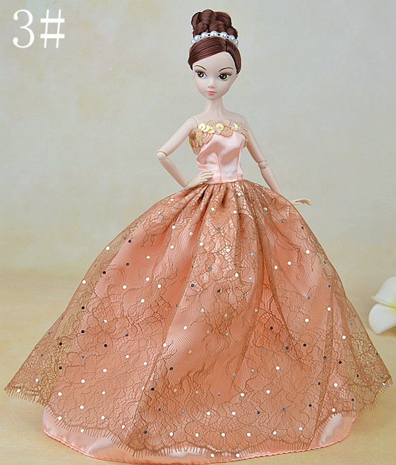 Style Marriage ceremony Gown For Barbie Dolls Garments Night Gown Vestido Lengthy Robe For 1/6 BJD Doll Home Doll Equipment