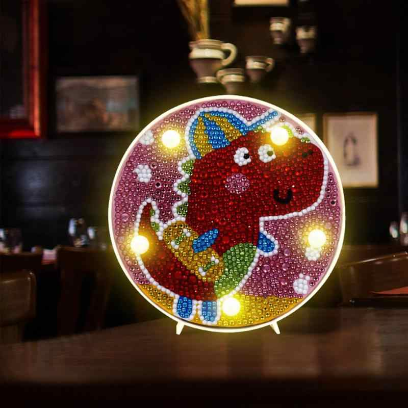 Cartoon  DIY Round Diamond Painting Light Night Lamp Full Drill Cross Stitch Embroidery Painting Home Kids Bedroom Decoration