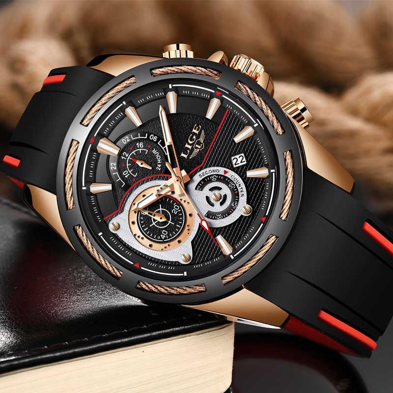 2019New LIGE Silicone bracelet hommes montres haut tendance marque de luxe affaires lumineux Quartz montre décontracté étanche Date horloge