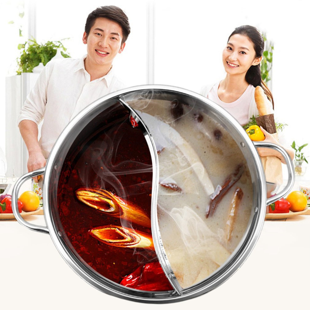 30cm Stainless Steel Hot Pot Shabu Shabu Kitchen Cooking Durable Dual Site Induction Gas Stove Homemade Hot Pot Soup Cooking Pot