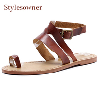 Stylesowner Retro Style Rome Sandal Brown Genuine Leather Belt Buckle Clip Toe Beach Casual Shoe Cozy