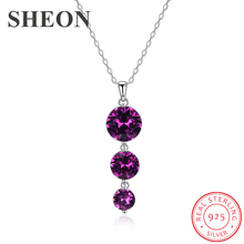 SHEON New Arrival 925 Sterling Silver Luxury Purple Crystal Pendant Necklaces for Women Jewelry Anniversary Gift
