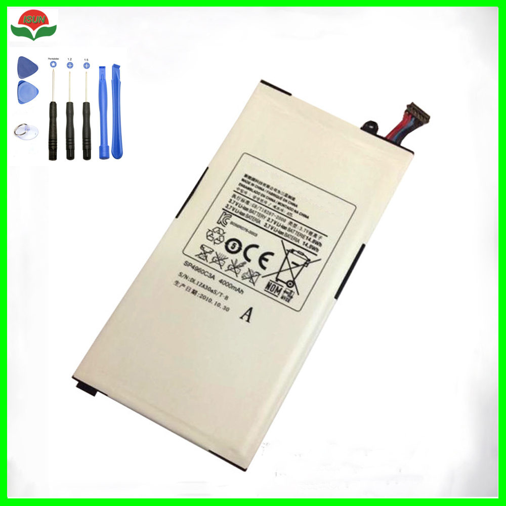 ISUN Original 4000mAh Replacement Battery SP4960C3A For Samsung <font><b>Galaxy</b></font> <font><b>Tab</b></font> <font><b>P1000</b></font> P1010 <font><b>GT</b></font>-<font><b>P1000</b></font> Tablet Battery with tool image