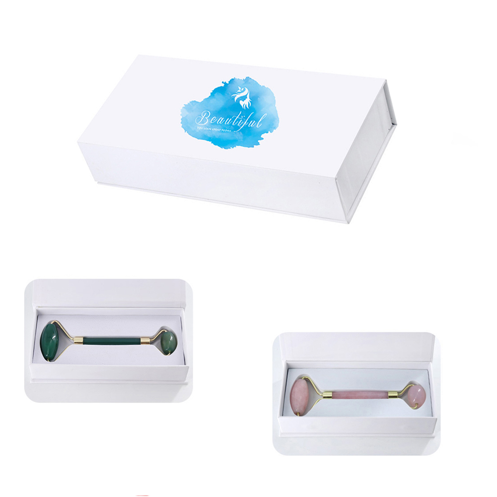 Natural Face Massager Lifting Tool Storage Box Jade Facial Roller Stone Container Relaxation Tool