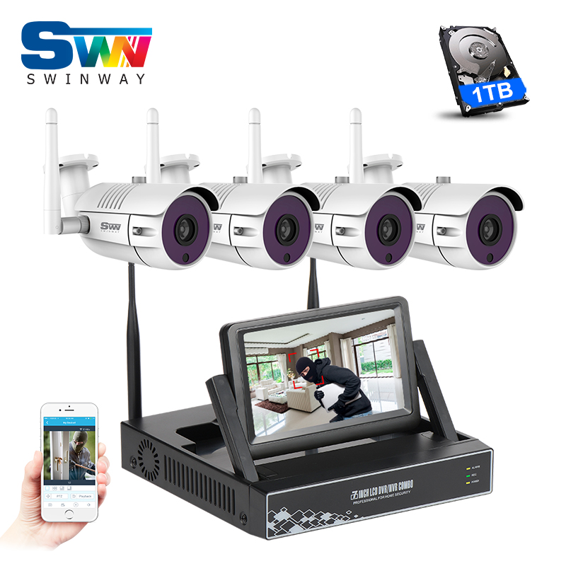 Plug And Play 4CH Wireless NVR CCTV Kit+7'LCD&960P 1.3MP HD Outdoor Video Surveillance Security WIFI IP Camera System+1TB HDD new listing plug and play 4ch wireless nvr kit 7 inch lcd screen 720p hd outdoor security wifi camera cctv system 1tb hdd