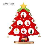 2017 Nieuwe Leuke kerstboom Kerstman Sneeuwman Houten Swing Decoratie Kerst Houten Bureau Tafel Decoratie Creative Gift