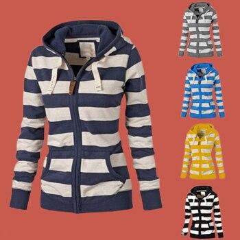 цена на Vintage Sweatshirt Striped Women Hoodie Poleron Mujer 2019 Zip Up Contrast Color Drawstring Hoodie Jacket Kangaroo Pocket Hoodie