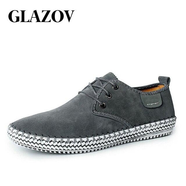 GLAZOV ใหม่คุณภาพสูงหนังนิ่มหนังผู้ชาย Moccasin รองเท้าผ้าใบคุณภาพสูงสบายๆผู้ชายรองเท้าชาย Breathable เรือรองเท้า 38 ~ 48