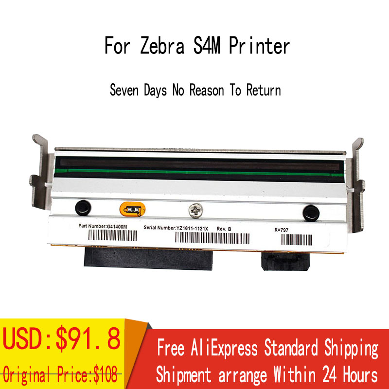 Printer Parts New Compatible Thermal Printhead Print head For Zebra S4M 203dpi Barcode Printer G41400M compatible for epson tm t883 tm t88iii tm88iii t883 original new thermal print head barcode printer parts on sale