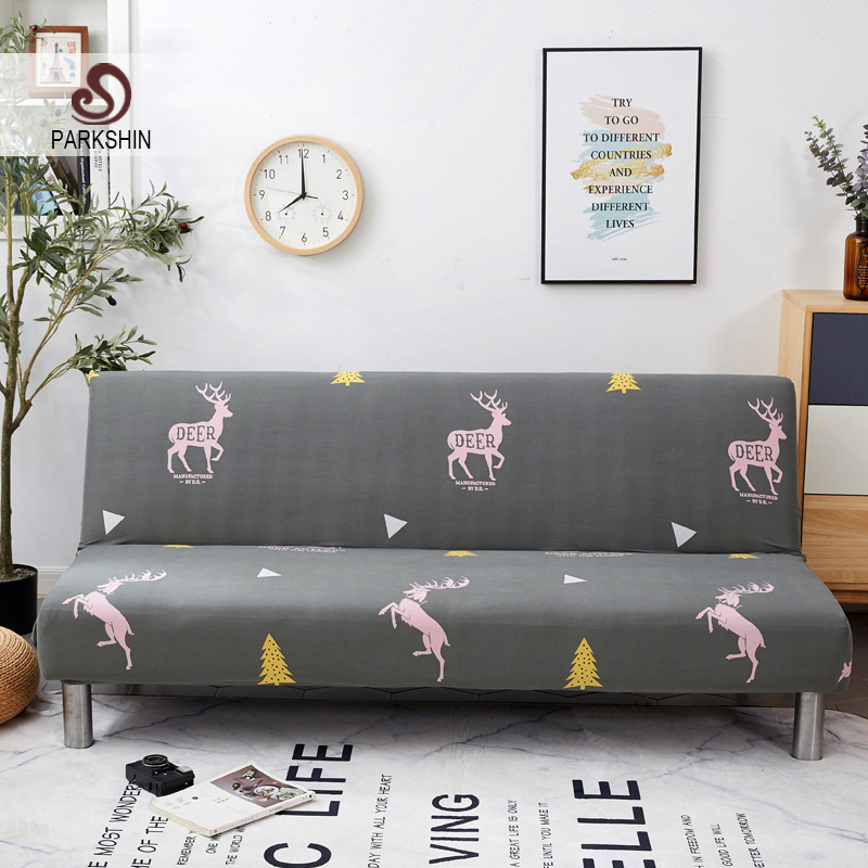 Parkshin Deer Soft All inclusive Folding Sofa Bed Cover Tight Wrap Sofa Towel Couch Cover Without Armrest housse de canap cubre-in Sofa Cover from Home & Garden