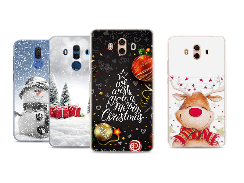 Merry Christmas Snowman Phone Case For Huawei Mate 20 Pro 20 Lite 10 Pro Hard PC Case For Huawei Mate 10 Lite Case Cover