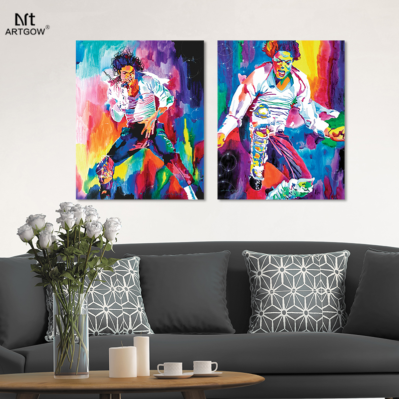 Pop King Michael Jackson Super Star Colorful Living Room Decoration Oil Canvas Painting Poster Wall Pictures Home Decor Unframed In Calligraphy