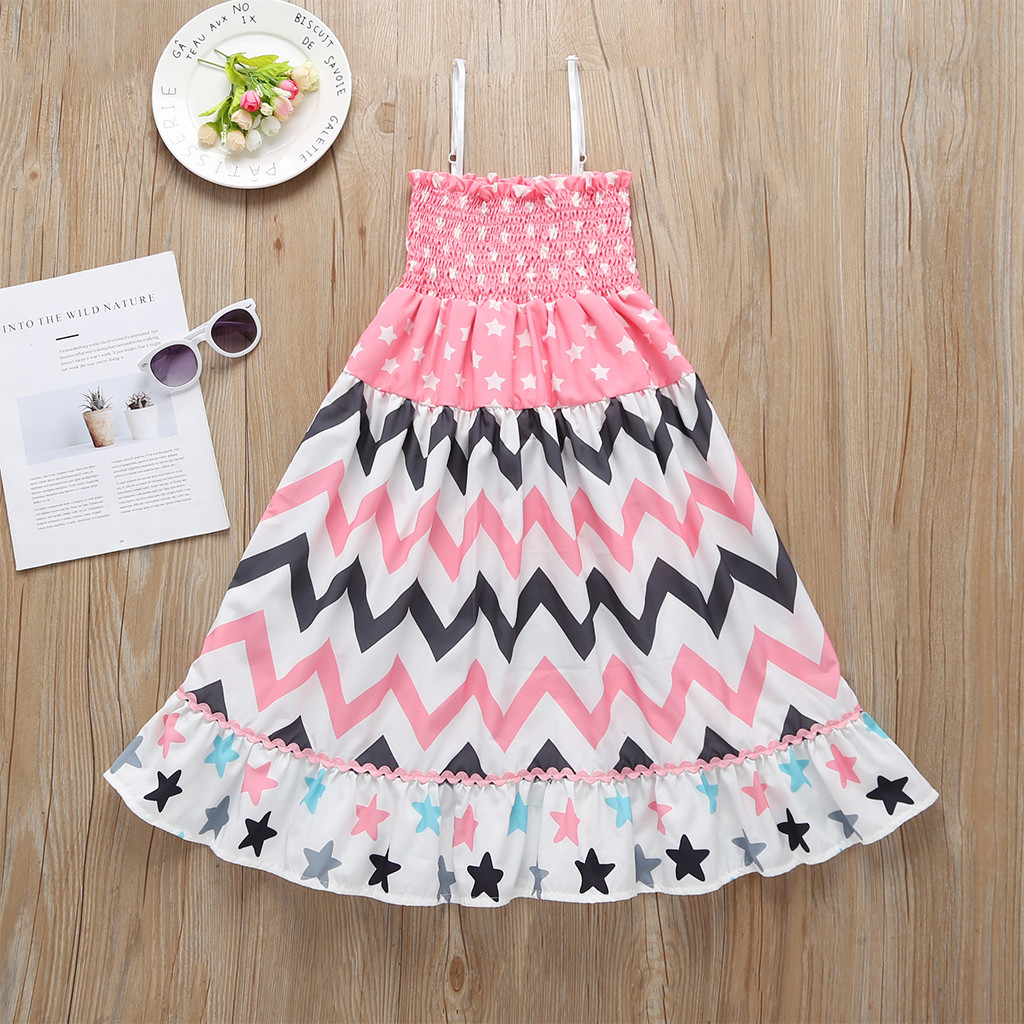 Toddler Dress Kids Baby Star and Striped Ruffle Princess Swing Party Dress Girl Casual Summer Frenulum Sleeveless Dresses 2019Toddler Dress Kids Baby Star and Striped Ruffle Princess Swing Party Dress Girl Casual Summer Frenulum Sleeveless Dresses 2019