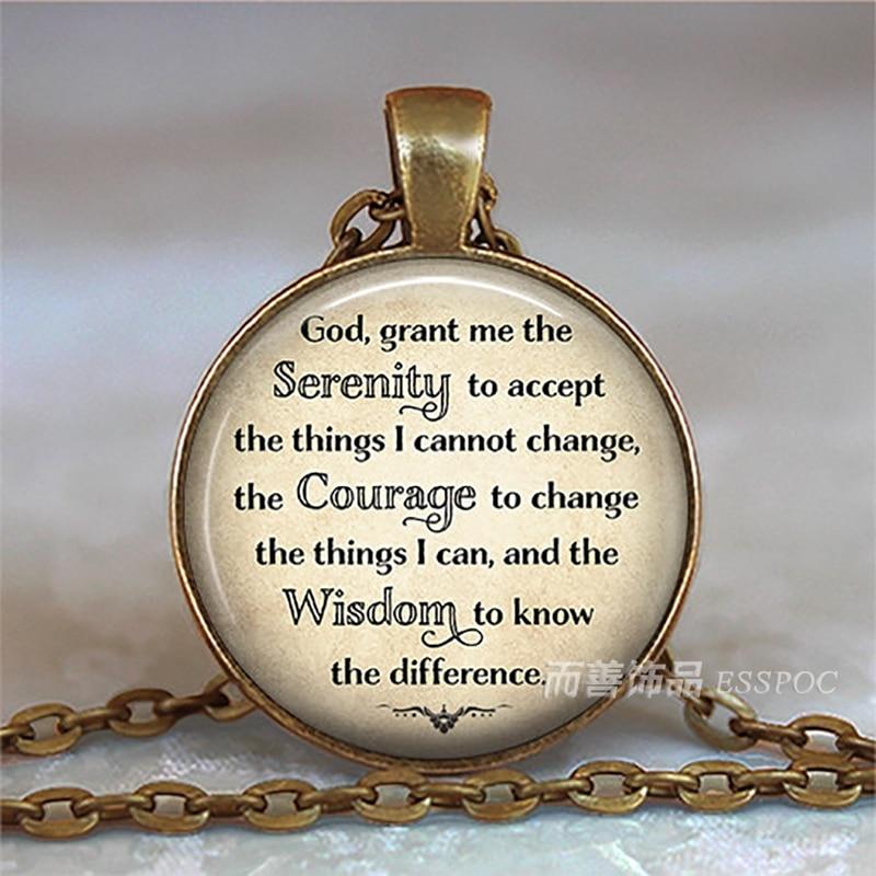 Vintage Cabochon Glass Necklace bronze charm chain pendant:prayer change things