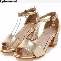 Damen Schnalle Quadrat Ferse OL Sandalen Plus größe 34 47 48 Peep Toe Thick Absätze Pumpt Kunstleder Gold silber zapatos