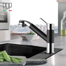 POP Moderne Style Pull Out Robinet de Cuisine, 2-fonction pulvérisateur tête, mat noir et chrome finition cuisine évier robinets