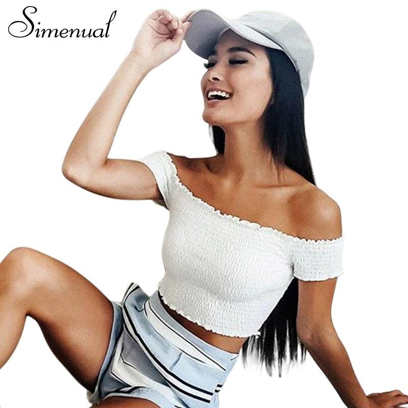 Simenual Slash Neck Summer T Shirt Crop Top Women Clothing