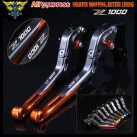 Orange+Titanium Folding CNC Motorcycle Brake Clutch Levers For kawasaki Z1000 2007 2008 2009 2010 2011 2012 2013 2014 2015 2016