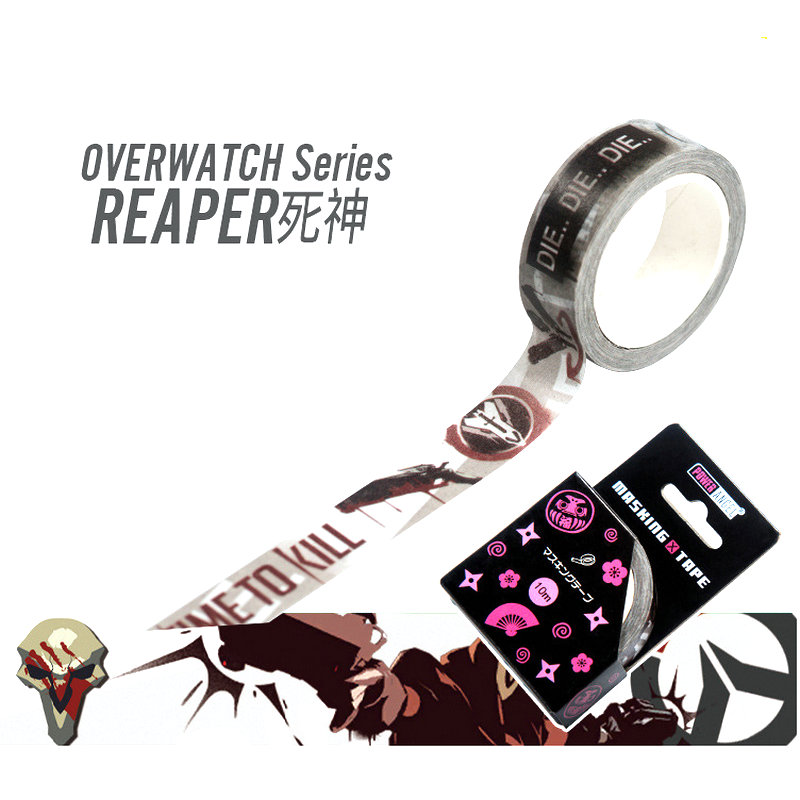 Hot Game OW D.VA Reaper Genji Washi Tape Adhesive Tape DIY Scrapbooking Sticker Label Masking Tape Toys Gift Стикер