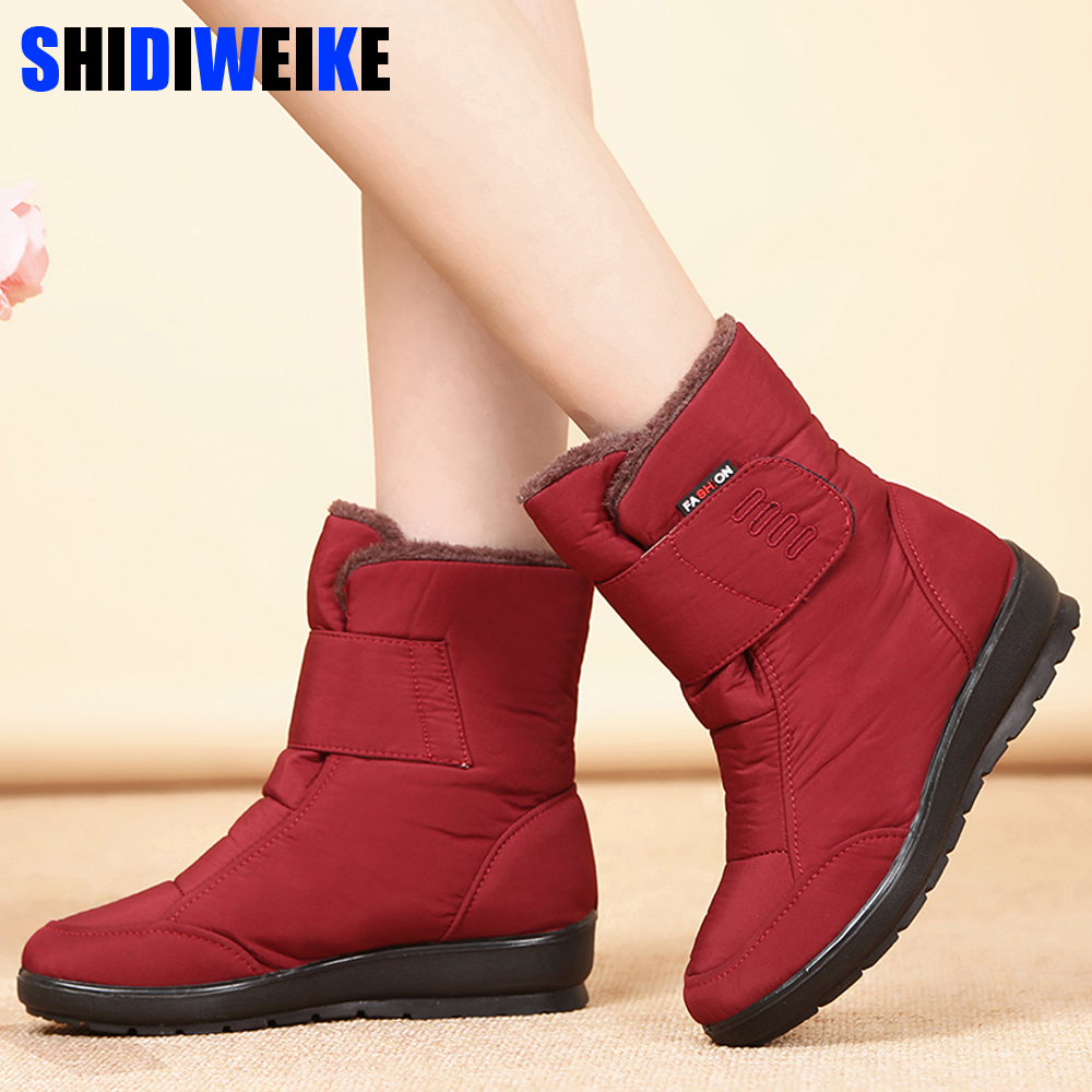 Women Snow Boots Winter Shoes Warm Plush Ankle Boots 2019 Brand Female Casual Shoes Wedge Snow Sexy Boots Waterproof n518 image