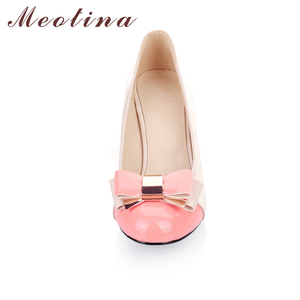 Image 2 - Meotina Ladies Shoes Pumps Autumn Round Toe Basic Office Chunky High Heels Shoes Women Bow Candy Color Shoes Plus Size 9 10