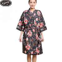 Salon Client Gown Robe Rose Flower Smock Kimono Hairdressing Cape Dress Beauty SPA Hotel Barber Guest Clothes Night gown Wrap