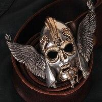 OGRM Viking Warrior Costume Belt Viking Helmet Buckle Tin Alloy Gothic Cowhide Genuine Leather Belt Designer