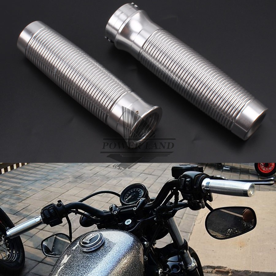 CNC Silver Aluminum Custom Rough Crafts Handlebar Grips Fits For Harley Sportster XL1200 883 Forty-Eight Softail Dyna Touring