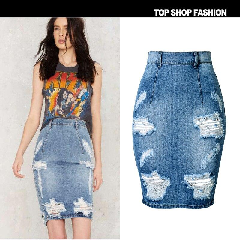 High Quality Skirts Womens 2016 Fashion Hole Denim Skirt High Waist Push Up Jeans Skirt Slim Skinny Sexy Skirt Jeans Femme Oh distressed denim pencil skirt plus size