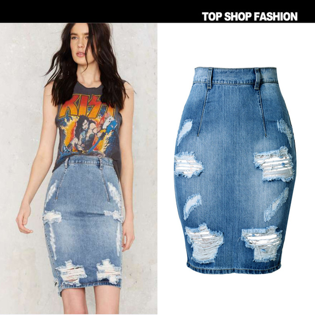 22f0cfb1524 2019 Pencil Skirt Womens Fashion Hole Distressed Denim Jupe Femme High Waist  Push Up Slim Faldas Mujer Moda Split Sexy Saia Midi