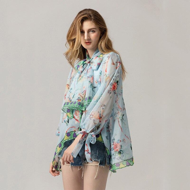 Bow Sash Femmes Col Designer Shirts Manches Casual Imprimé Nouvelle Arrivée 2019 Asymétrique Milan Multi Blouse Longues Lâche De Dame YqBX00