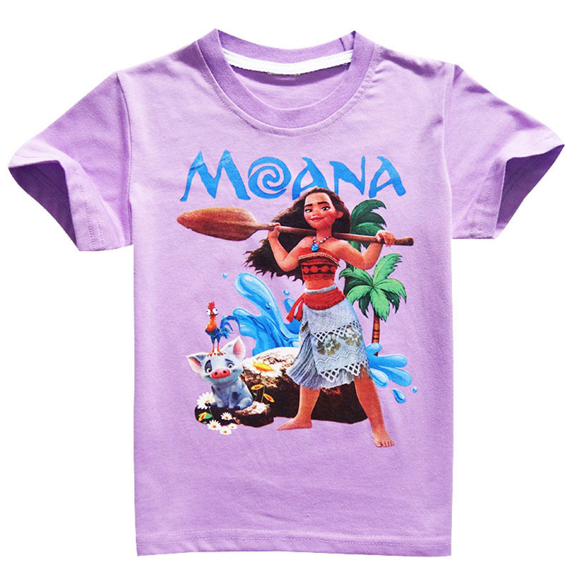 HTB1b6y5iyMnBKNjSZFzq6A qVXaL - Disney princess Girl shirts T-shirt Moana Ocean Romance Children kids short sleeve T-shirt summer