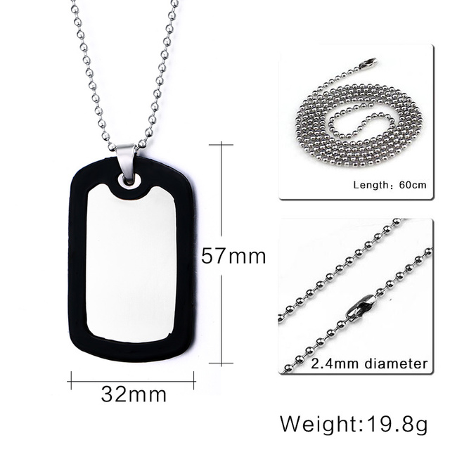 Personalized ID Necklace Pendant Stainless