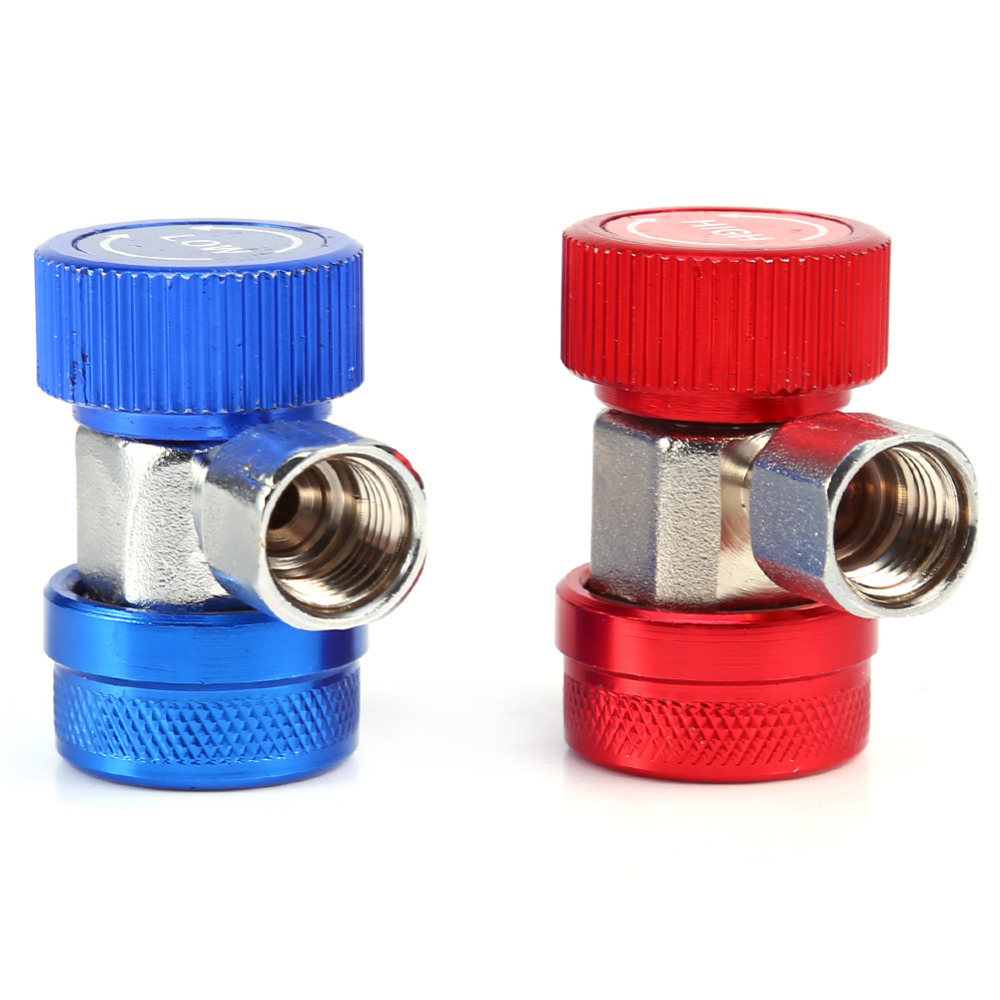 1Pair Air Condition Quick Coupler Refrigerant High Low Adapter Connector Manifold Gauge Set Freon R134A AC Adjustable