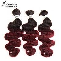 Joedir Pre colored Malaysian Body Wave Human Braiding Hair Bulk 3 Bundles Deal No Weft Remy Hair Bundles Ombre 99J Color