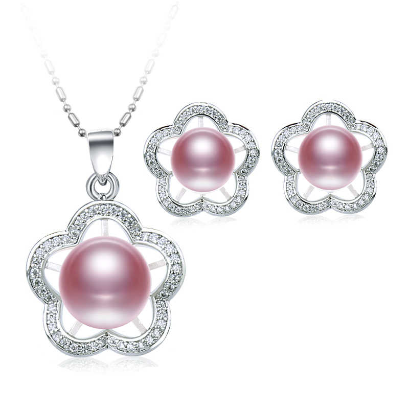 DAIMI 2017 New Flower Jewelry Set 7-8mm, 9-10mm Freshwater Pearl Set Pendant Earrings Pentagonal Flower Jewelry
