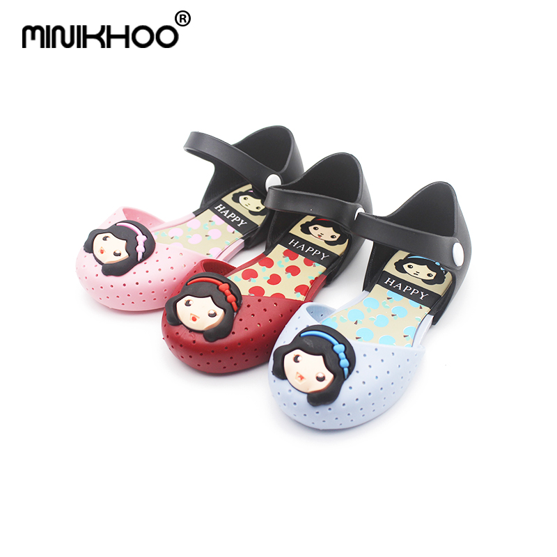 Mini Melissa Snow White Princess Jelly Sandals 2018 Summer New Girl Sandals Children Jelly Shoes Cute Princess Shoes Non-slip