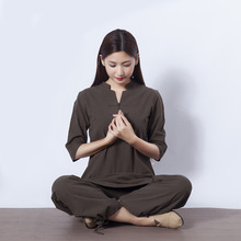 High Quality Zen Meditation Yoga Suit Loose Trousers Tops Set Tai Chi Clothing Ladies Linen Outdoor Clothes Dropshipping