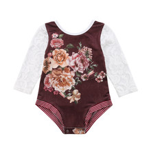 1940269520eb Toddler Infant Baby Girl Flower Lace Romper Jumpsuit Outfits Clothes  pudcoco baby girl floral romper jumpsuit
