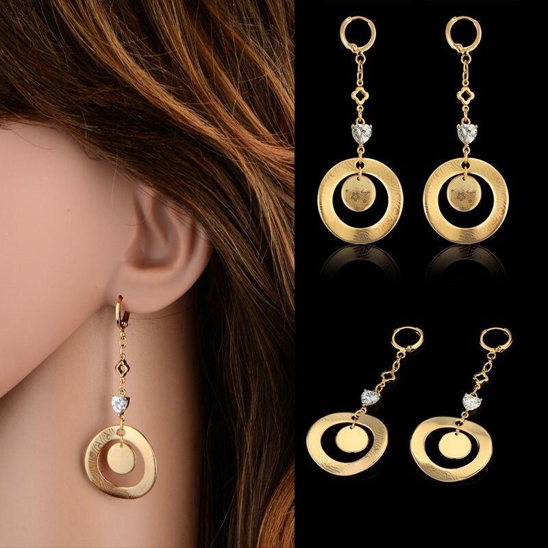 Vintage Circle Dangle Earrings Gold color Earings Drop Earrings For Women Long Earring Jewelry brinco