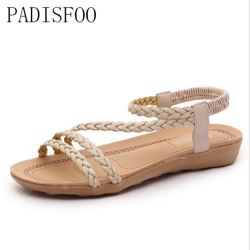 PADISFOO Womens Summer Fashion Head Roman Braid Casual Comfortable Sandals rural style sandals slippers .HYKL-017